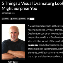 """Web article: """"5 Things a Visual Dramaturg Looks for That Might Surprise You"""""""