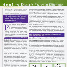 "Article: ""deaf to Deaf: Shades of Difference"