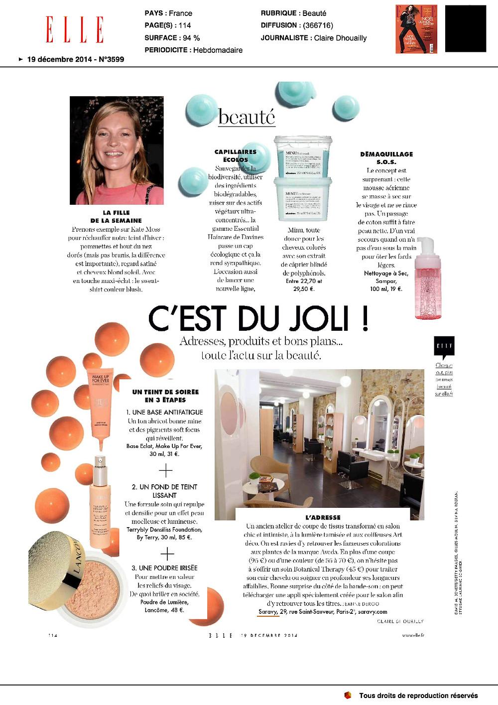 Article Saravy dans ELLE magazine