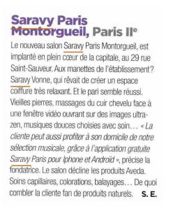 Saravy Paris Montorgueil dans le magazine Coiffure de Paris