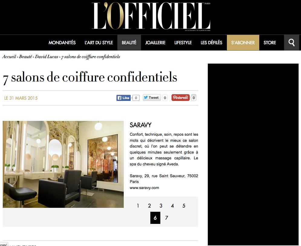 L'Officiel sélectionne Saravy parmi les salons confidentiels de Paris