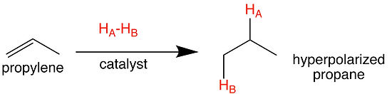 heterogeneous pairwise parahydrogen addition to propylene