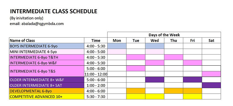 Class Schedule Intermediate 2019 FALL V3