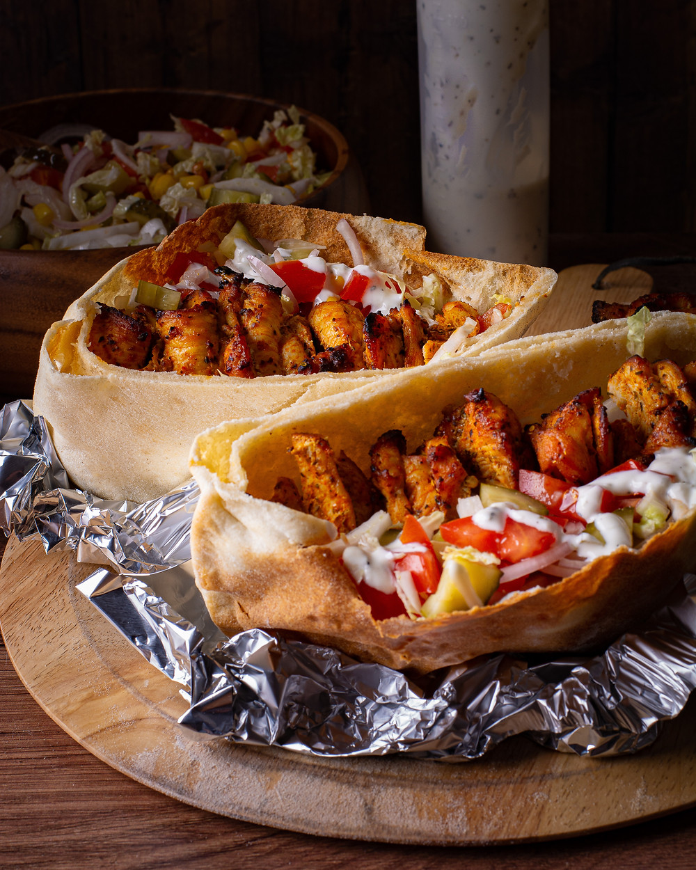 Chicken Gyros Kebab on the table