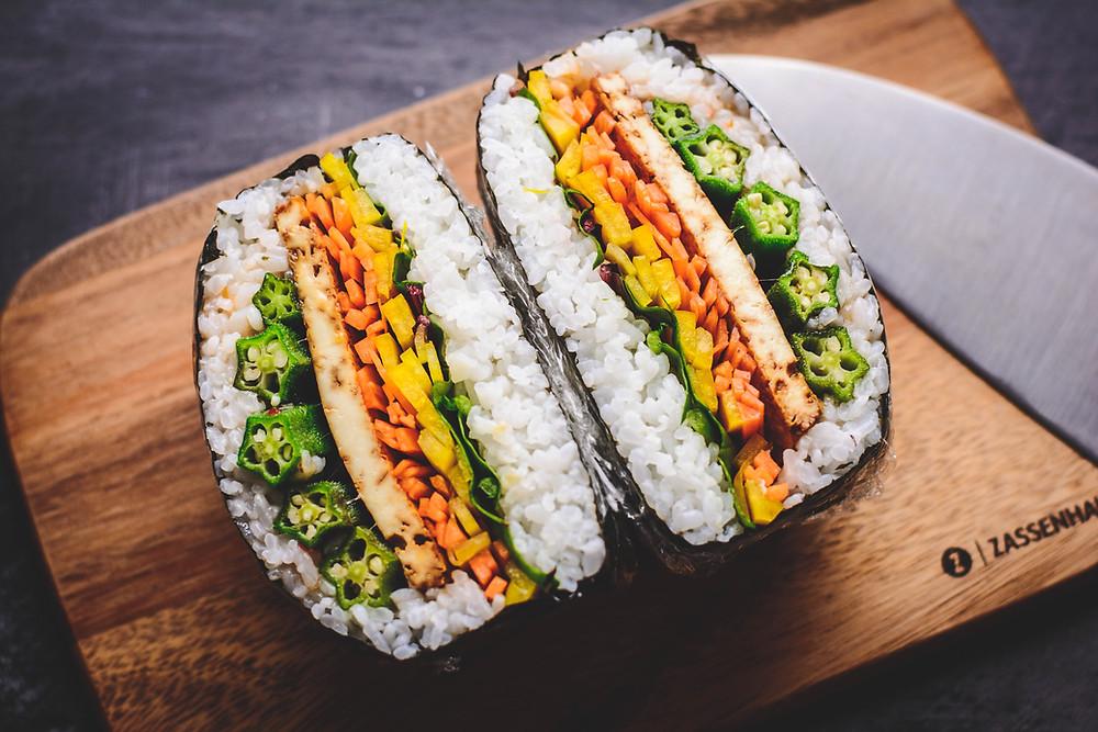 Onigirazu with Okra and Tofu cut in half