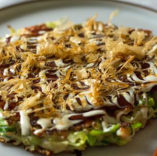 Okonomiyaki with Prawns & Bacon
