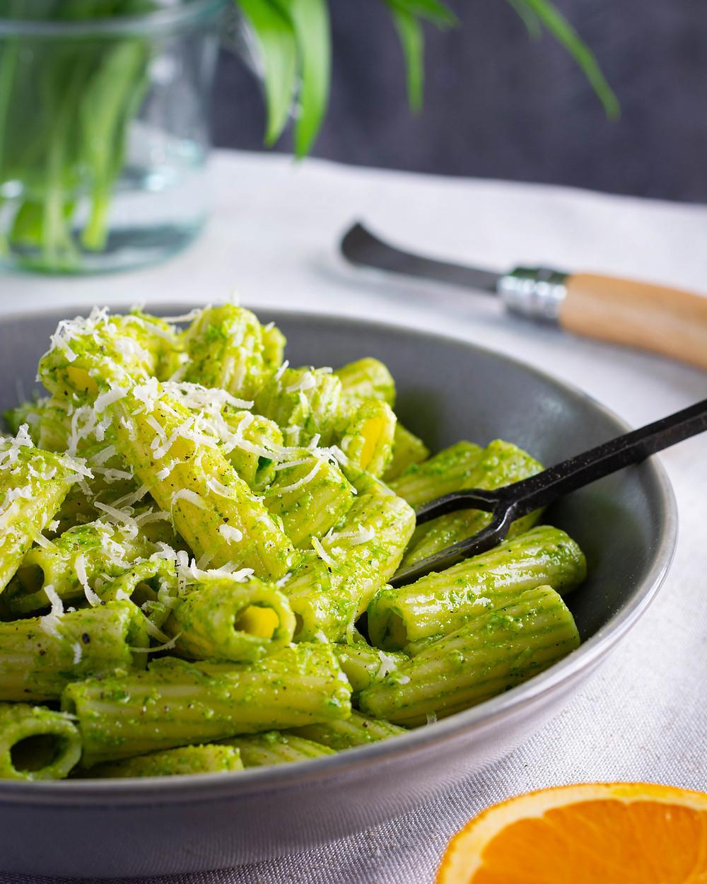 Wild Garlic Pesto & Orange Rigatoni in the bowl