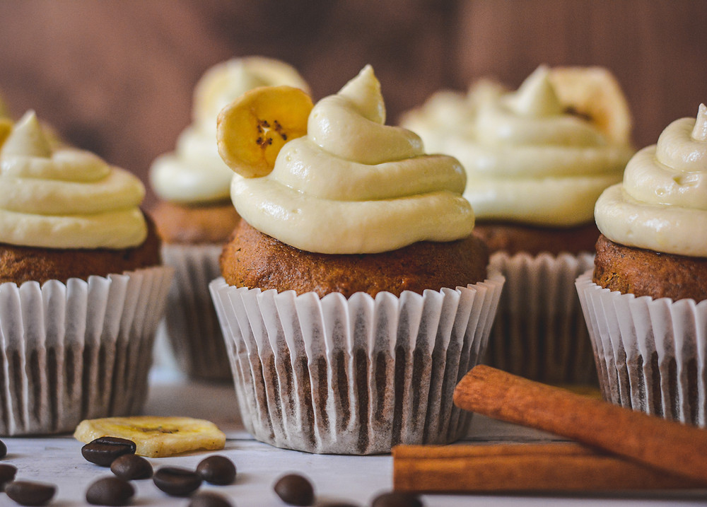 Banana Coffee Cupcakes & Cream Cheese Frosting
