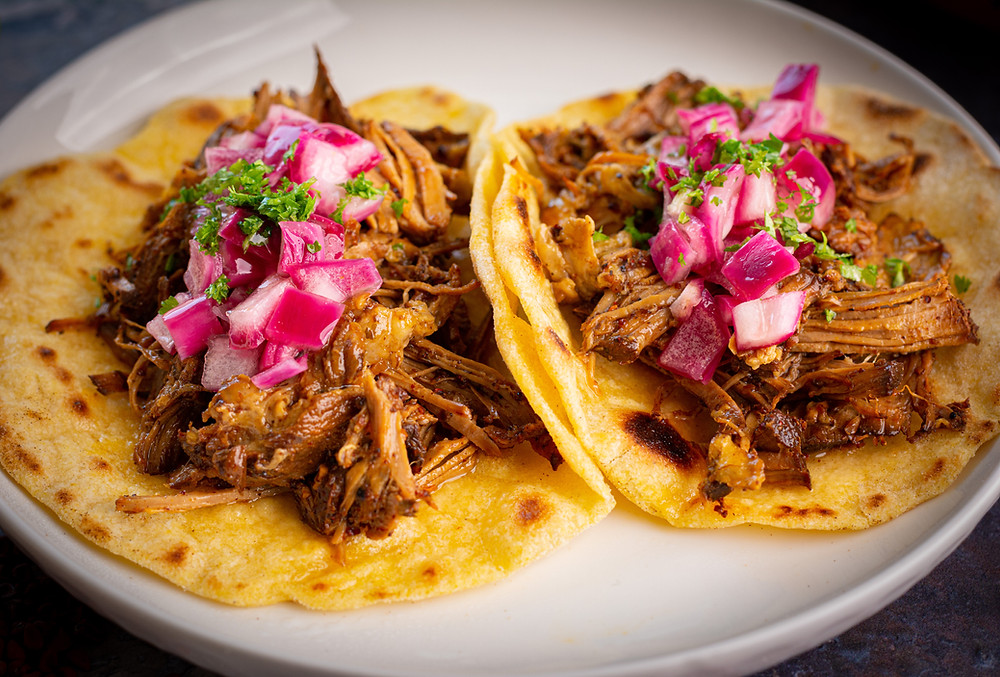 Cochinita Pibil Tacos with Pickled Red Onion