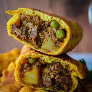 Trinidad Aloo Beef Pie with Nut Lettuce Salad & Herby Yoghurt