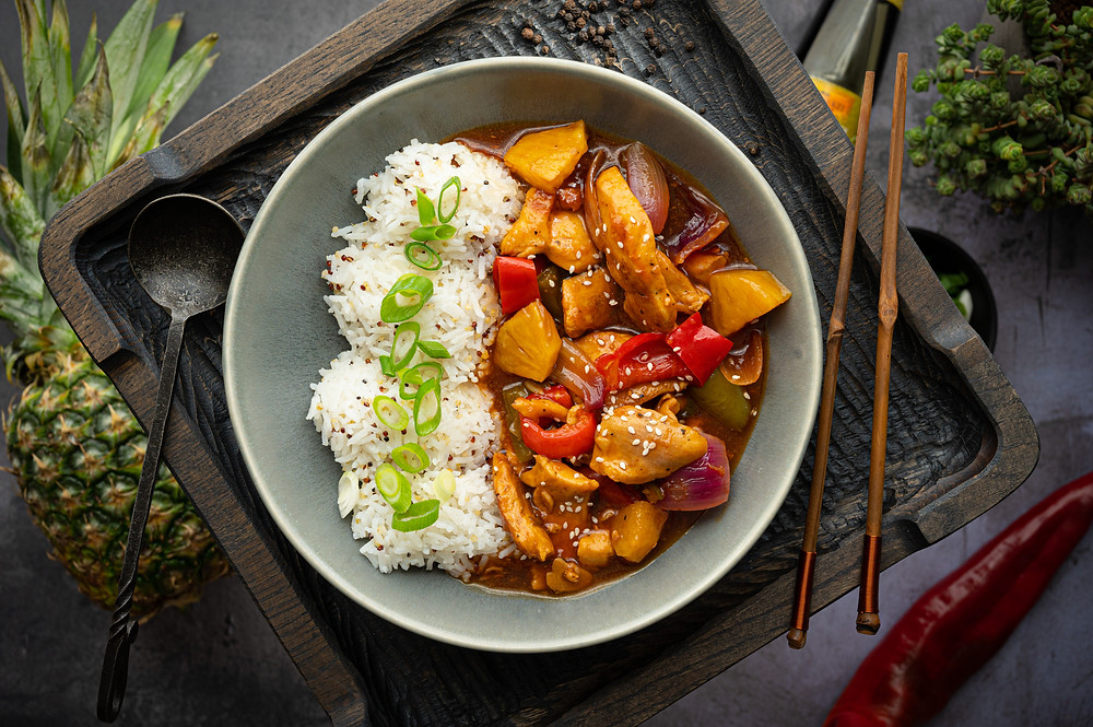 Sweet and Sour Chicken with Grilled Pineapple
