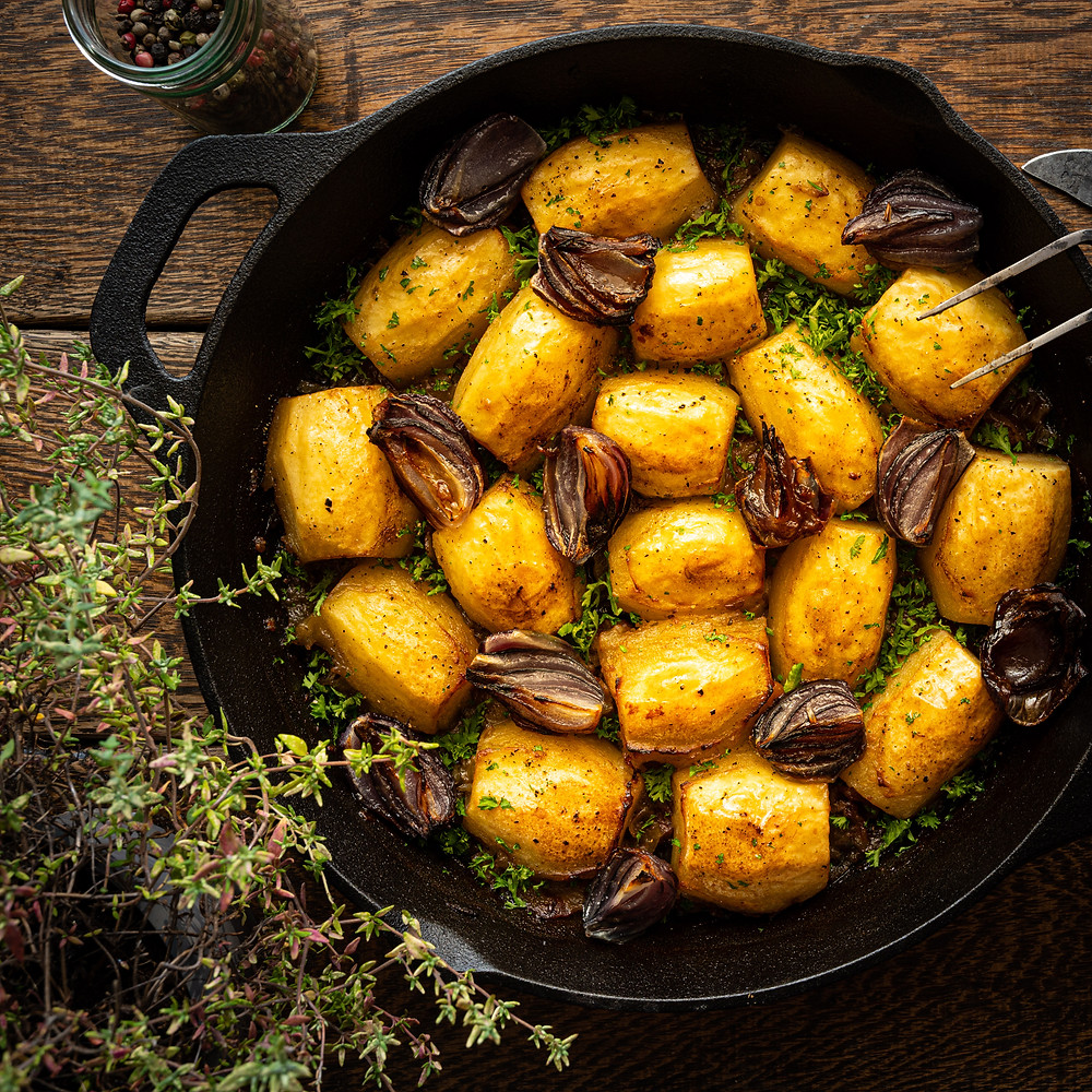 Berrichonne Potatoes in cast iron pan