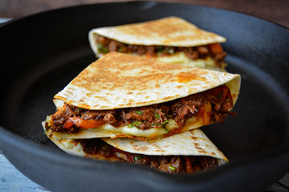 Mexican Chilli Beef Quesadilla in cast iron pan