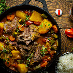 Jamaican Style Slow-Cooked Curry Lamb with Okra & Potatoes