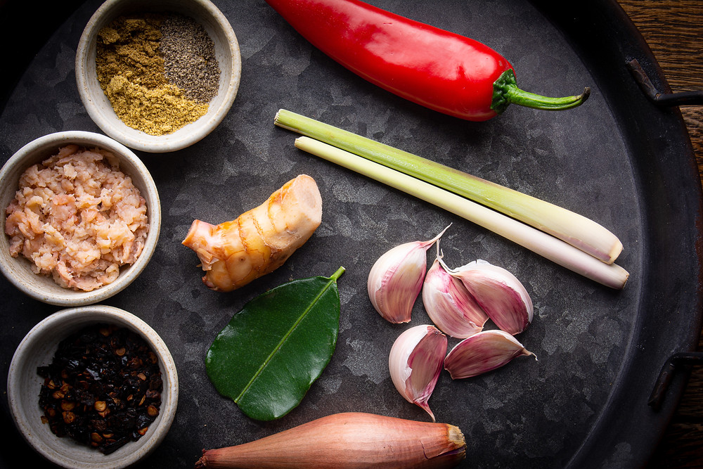 Thai Red Curry Paste Ingredients on the tray
