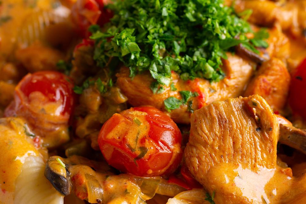 Hungarian Chicken Paprikash macro photography