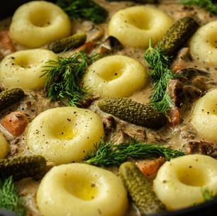 Slow-cooked Beef Stroganoff with Silesian Dumplings & Gherkins