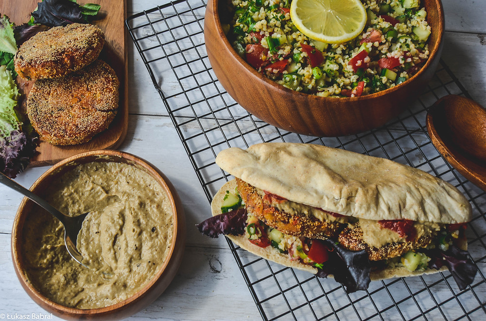 Falafel Burger in Homemade Pitta, Tabbouleh & Baba Ghanoush Dip Recipe