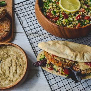 Falafel Burger in Homemade Pitta, Tabbouleh & Baba Ghanoush Dip