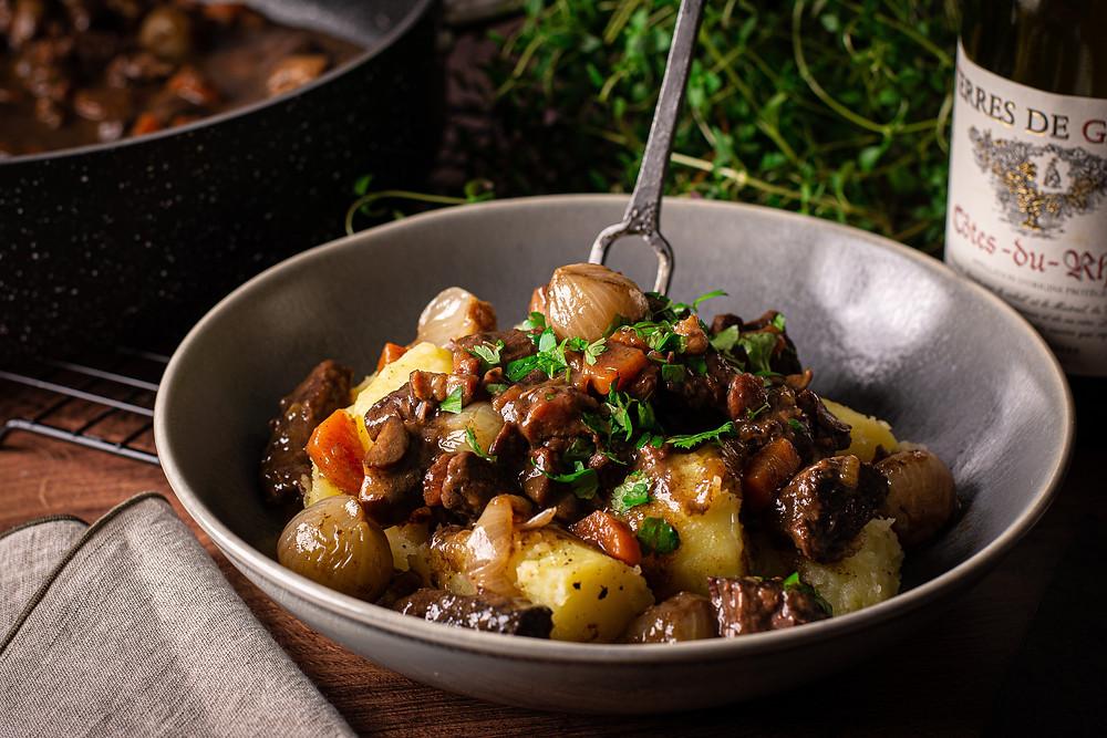 Beef Bourguignon food photography