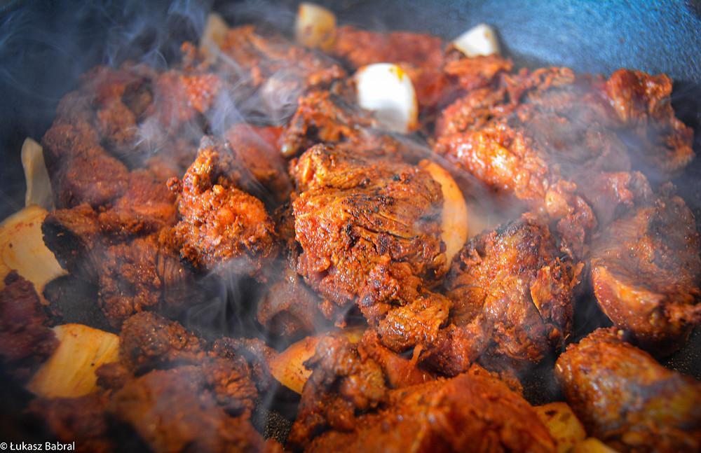 Searing marinated beef