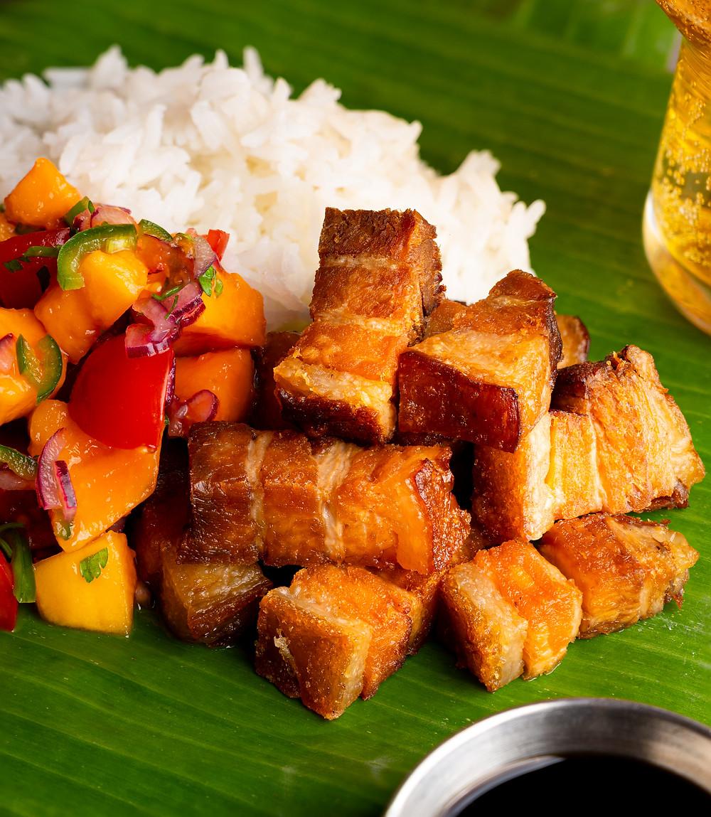 Lechon Kawali with Papaya Salsa & Adobo Dipping Sauce