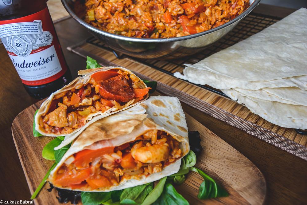 Spicy Chicken & Chorizo Jambalaya Wraps Recipe