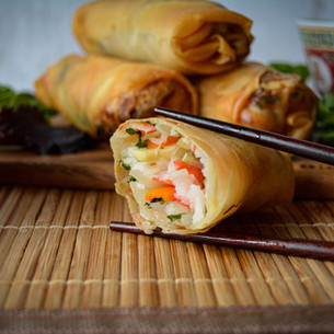 Seafood Spring Rolls with Soy & Chilli Sauce