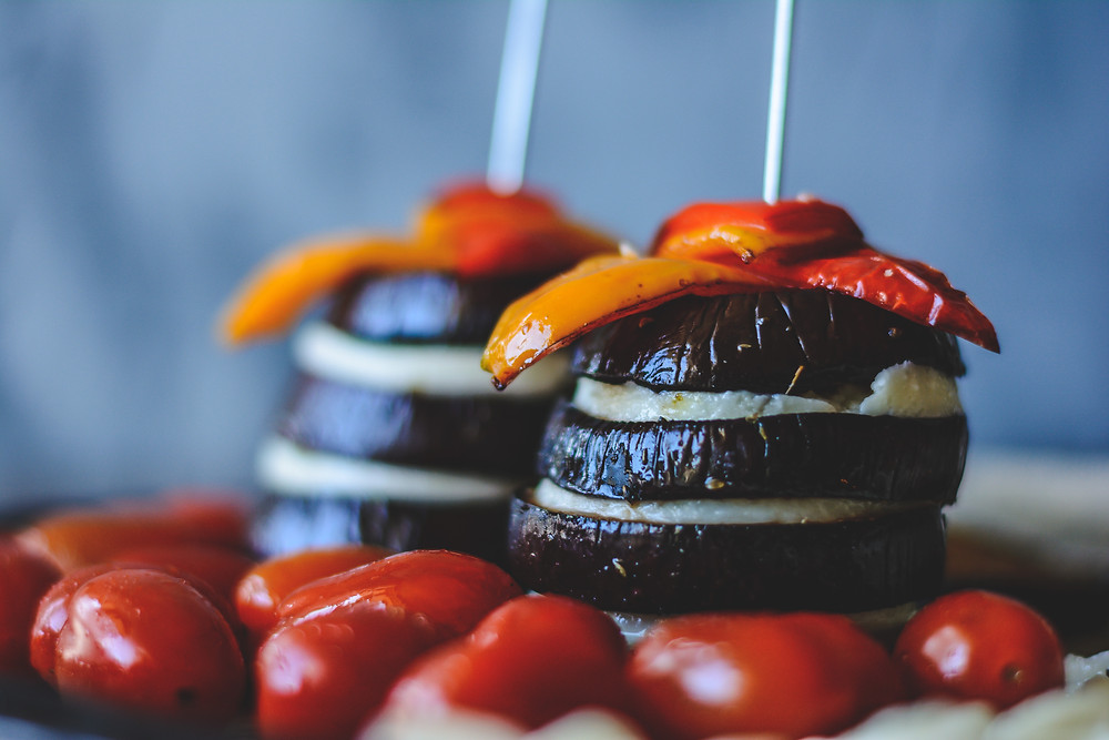Roasted Aubergine & Halloumi Stack with Baby Tomatoes and Balsamic Glaze ready to roast