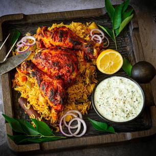 Chicken Tandoori with Vegetable Biryani & Cucumber Raita