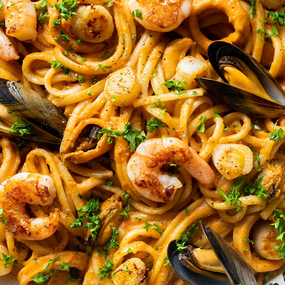 Seafood Pasta Macro Photography