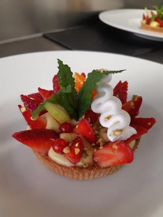 Dessert bistronomique du restaurant l'Aromatic à Ploeuc-l'Hermitage