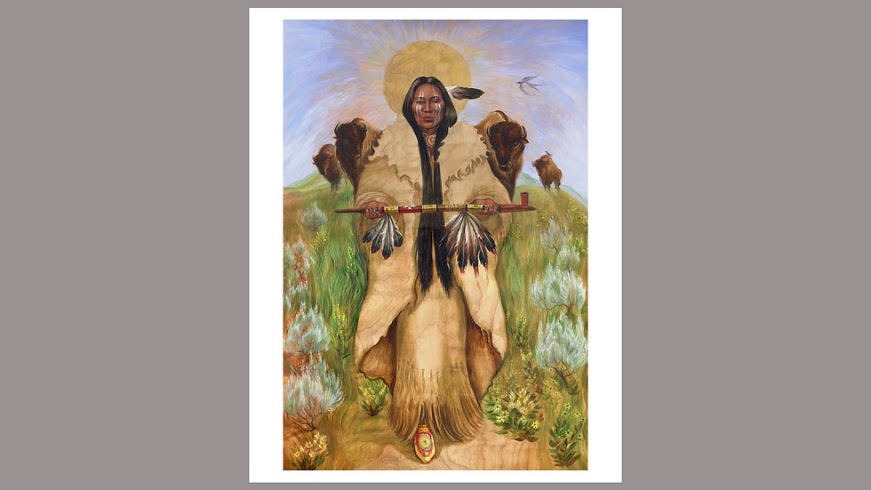 Buffalo Woman fine art print 13x9 on 11x14 pape