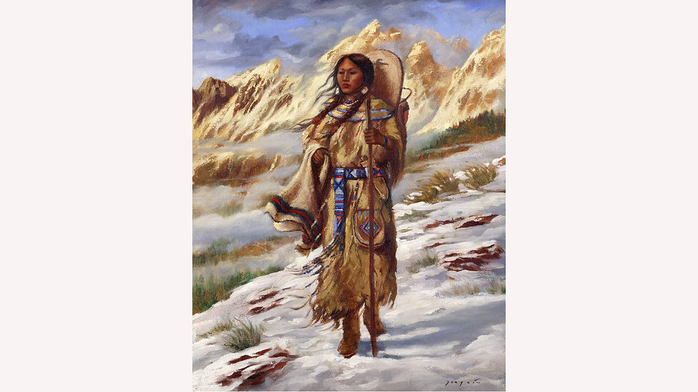 Sacajawea crossing the Bitterroots  fine art print
