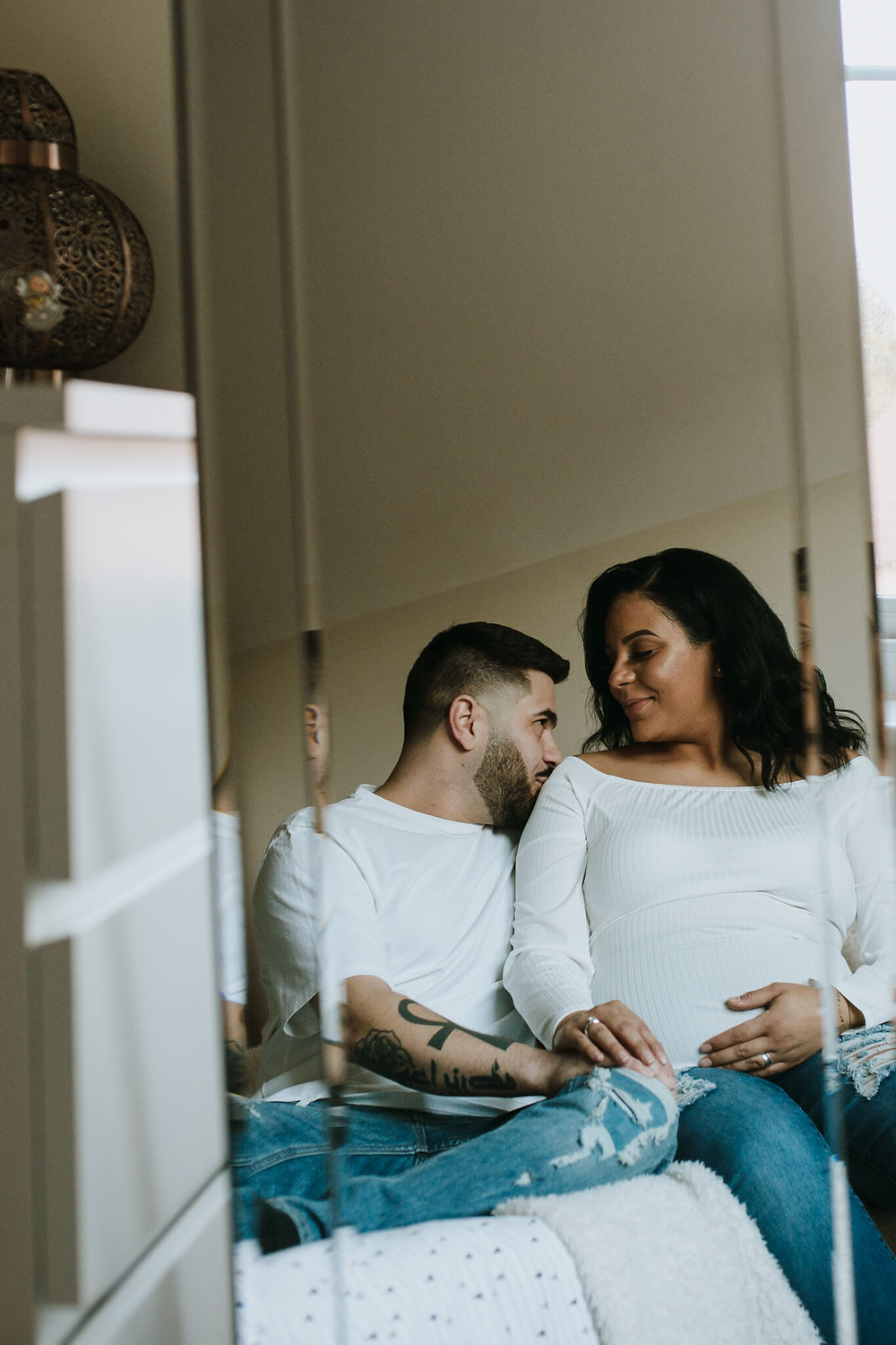 Professional maternity  couple photography at home Hertfordshire