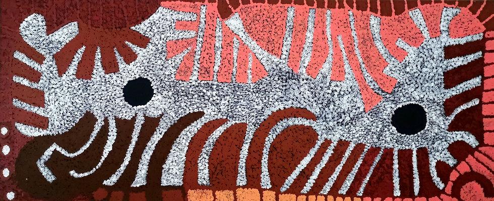 """Minyma Kutjara"" by Selina Kulitja (380x900mm) Acrylic on Canvas"