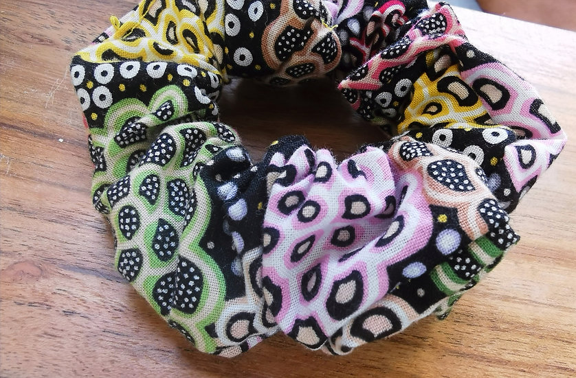 "Black Scrunchie - June Smith ""Dancing Flowers"""