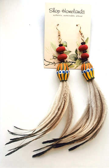 Painted Gumnut, Ininti Seed and Emu Feather Earrings - 7018