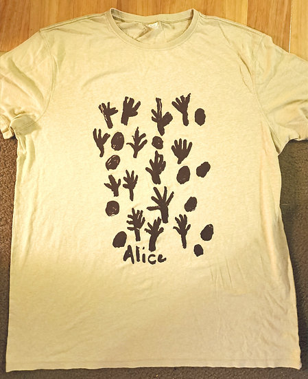 Talaalpi Screen Printed T-Shirt (Sand Hemp) by Alice Nampitjinpa Dixon