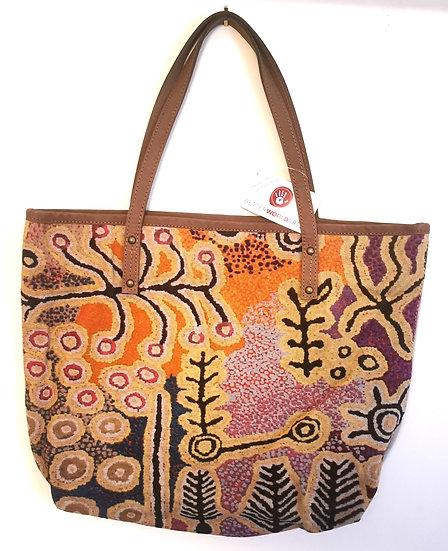 "Leather Trimmed Tote Bag - ""Puurda mana Wanakji Jukurrpa"" by Paddy Jalapjarri St"