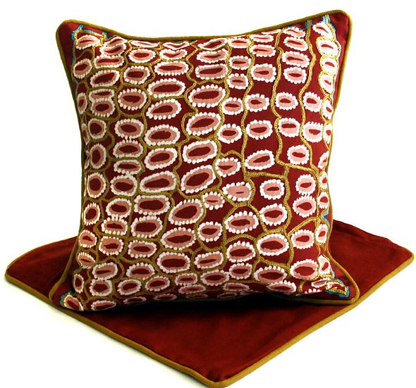 Hand Printed & Embroidered Cushion Cover (41cm) by Rama Sampson