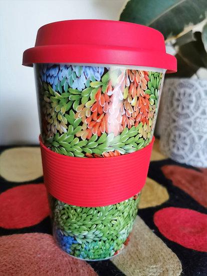 "Eco Travel Mug - ""Waru""(Bushfire Dreaming)"