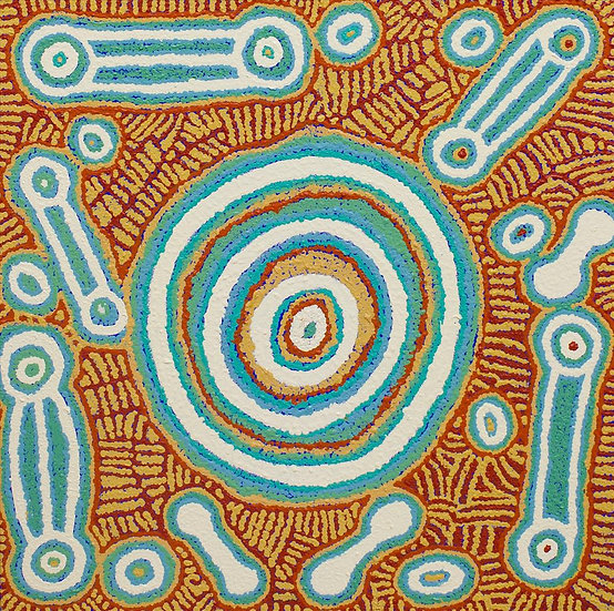 """Waru at Watarru"" (60 x 60 cm Acrylic on Canvas) by Tinpulya Mervyn"