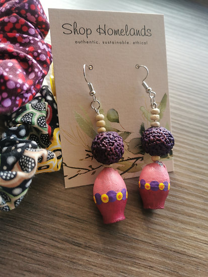 Purple Quandong and Painted Gumnut Earrings