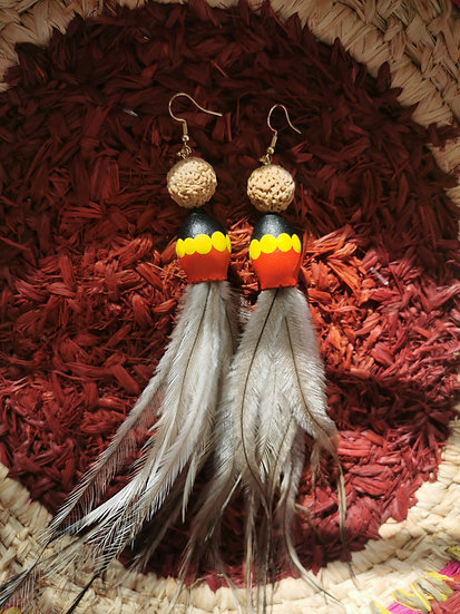 SURVIVAL DAY Painted Gumnut, Quandong and Emu Feather Earrings