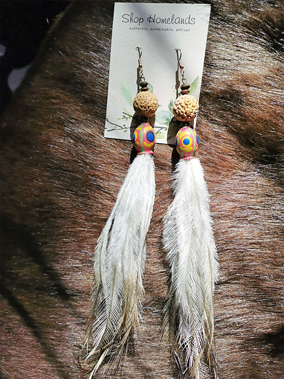 Painted Gumnut, Ininti Seed and Emu Feather Earrings