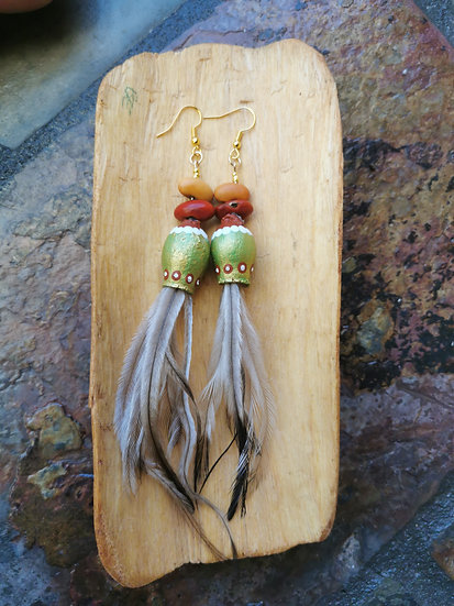 Christmas Gumnut, Emu Feather and Ininti Seed Earrings