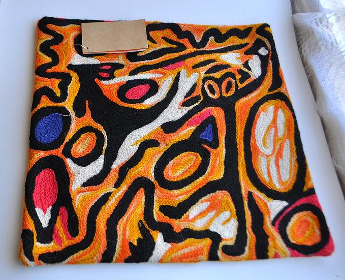 "Cushion Cover Wool 12in (30cm) - ""Ngarrindjeri Dreaming"" by Cedric Varcoe"