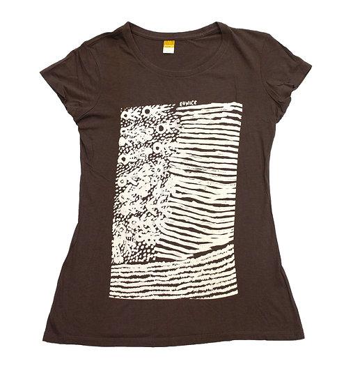 Kuruyultu Screen Printed T-Shirt (Chocolate Brown) by Eunice Napanangka Jack