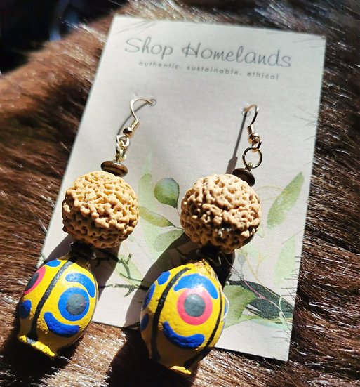 Painted Gumnut and Quandong Seed Earrings